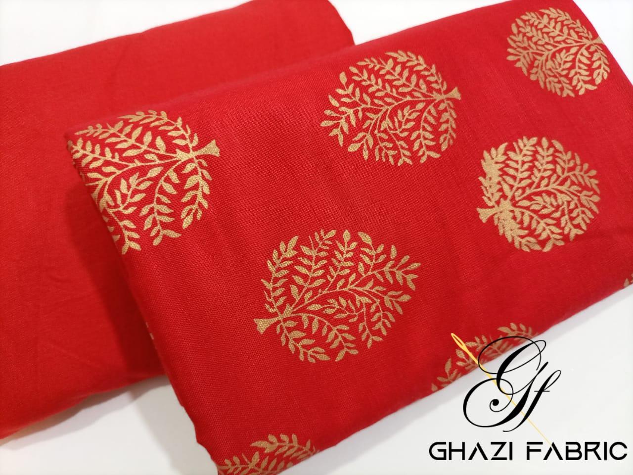Ghazi Fabric Linen Collection unstich 2 piece with Gold print  premium quality trendy elegant superb Article linen unstich shirt & trouser 5.50/ yards