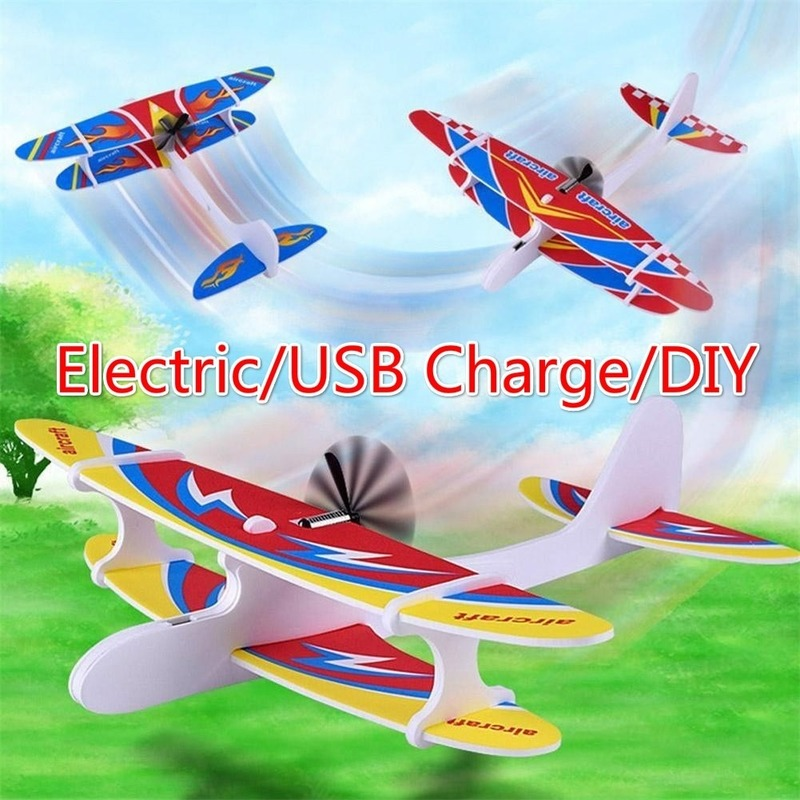 Electirc USB Charging LED Hand Throw Flying Glider Planes Foam Aeroplane Kids Toy Play Vehicles Models Railed Motor Cars Gifts