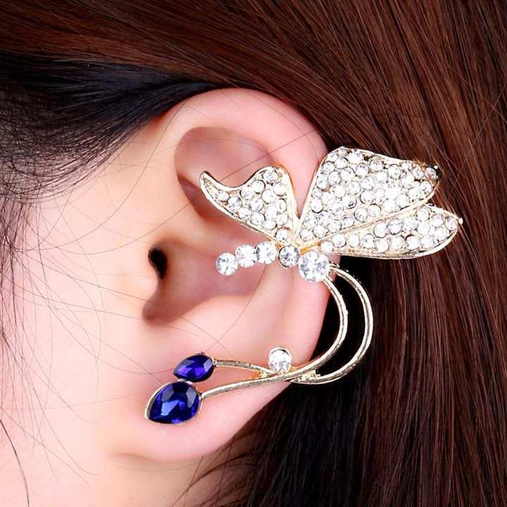 Blue Rhinestones Butterfly Ear Cuff - For Left Ear Only