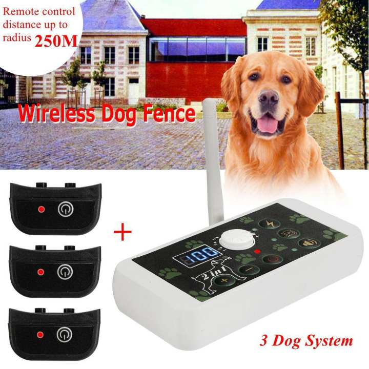 Wireless Electric 3 Dog Pet Fence Systems Containment Rechargeable Transmitter US Plug