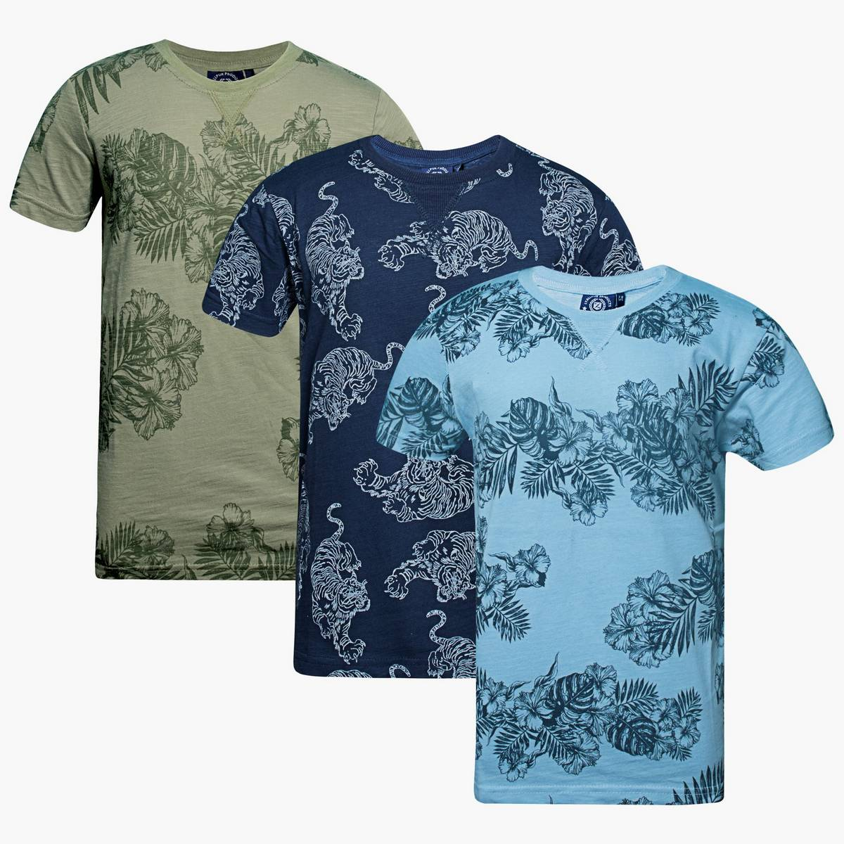 T shirts for boys Kids Pack Of 3 with all over Floral and Loin Printing  Silver Sage Angle fall Blue Fashion Colour  Pure Cotton  Casual Wear Formal Wear Sports Wear export quality Trendy shirts Size Range 7-13 Years