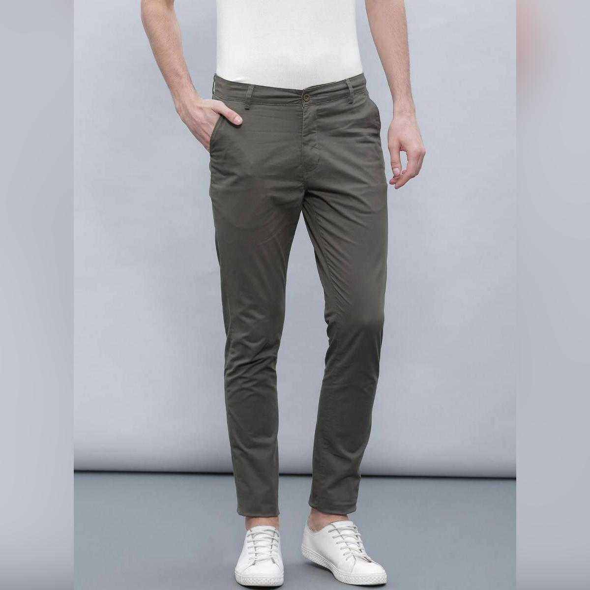Slimfit Grey Stretchable Cotton Chinos