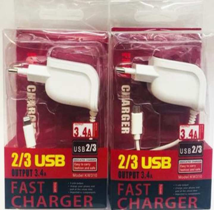 Two Samsung Fast Chargers 3.4 A  ( Dual USB Ports) 3 Mobiles Charging Best For Smart Phones & Tablets - White
