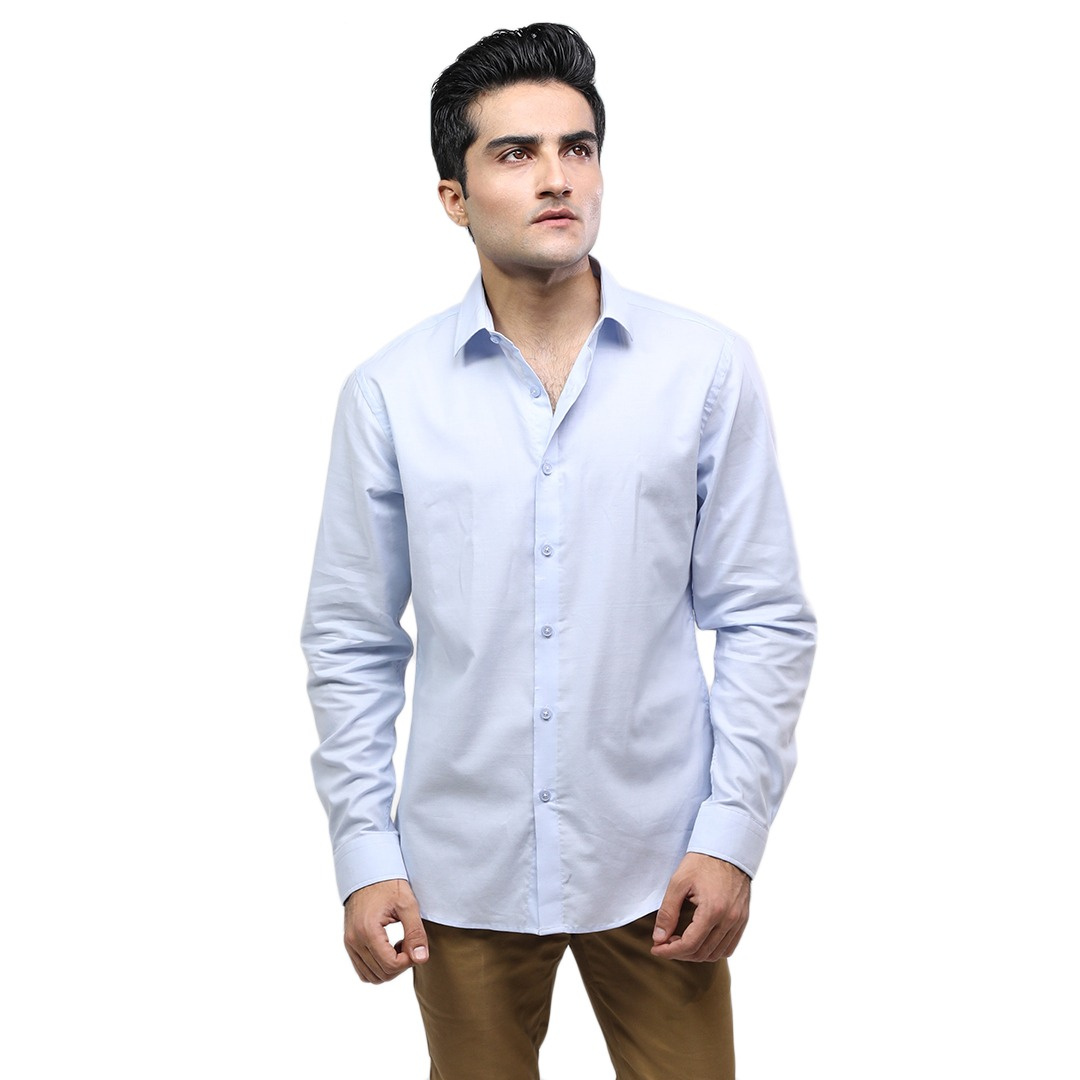 Select by  - Casual Button-Down Shirt For Men - Light Blue