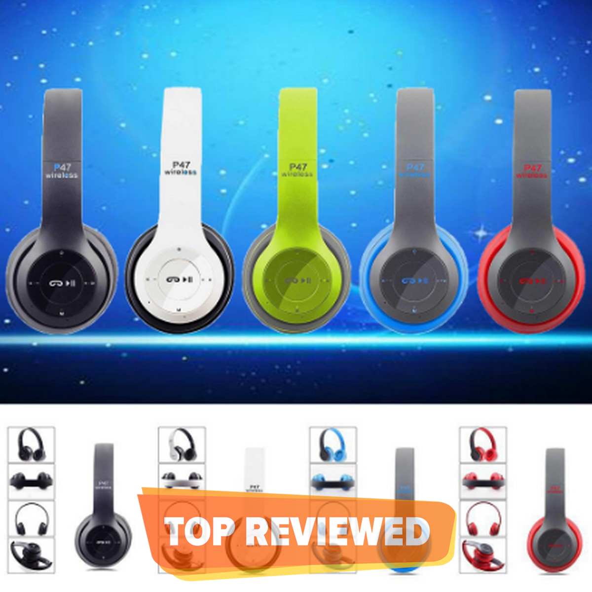 P47 Over The Ear Wireless Bluetooth Headphone Support Sd Card