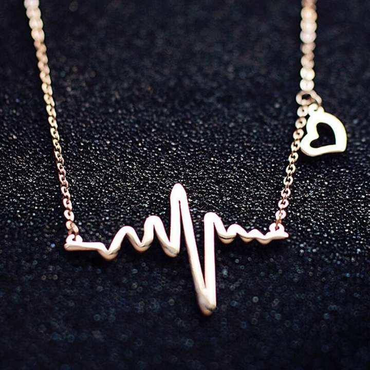 Golden Metal ECG Heart Beat Wave Clavicle Necklace For Women