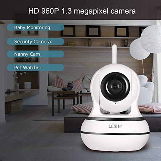 WiFi Camera, LESHP 960P Wireless Surveillance Camera IP Cam Nanny Cam with  Pan Tilt Zoom Motion Detect Two Way Audio Night Vision Remote Control WiFi