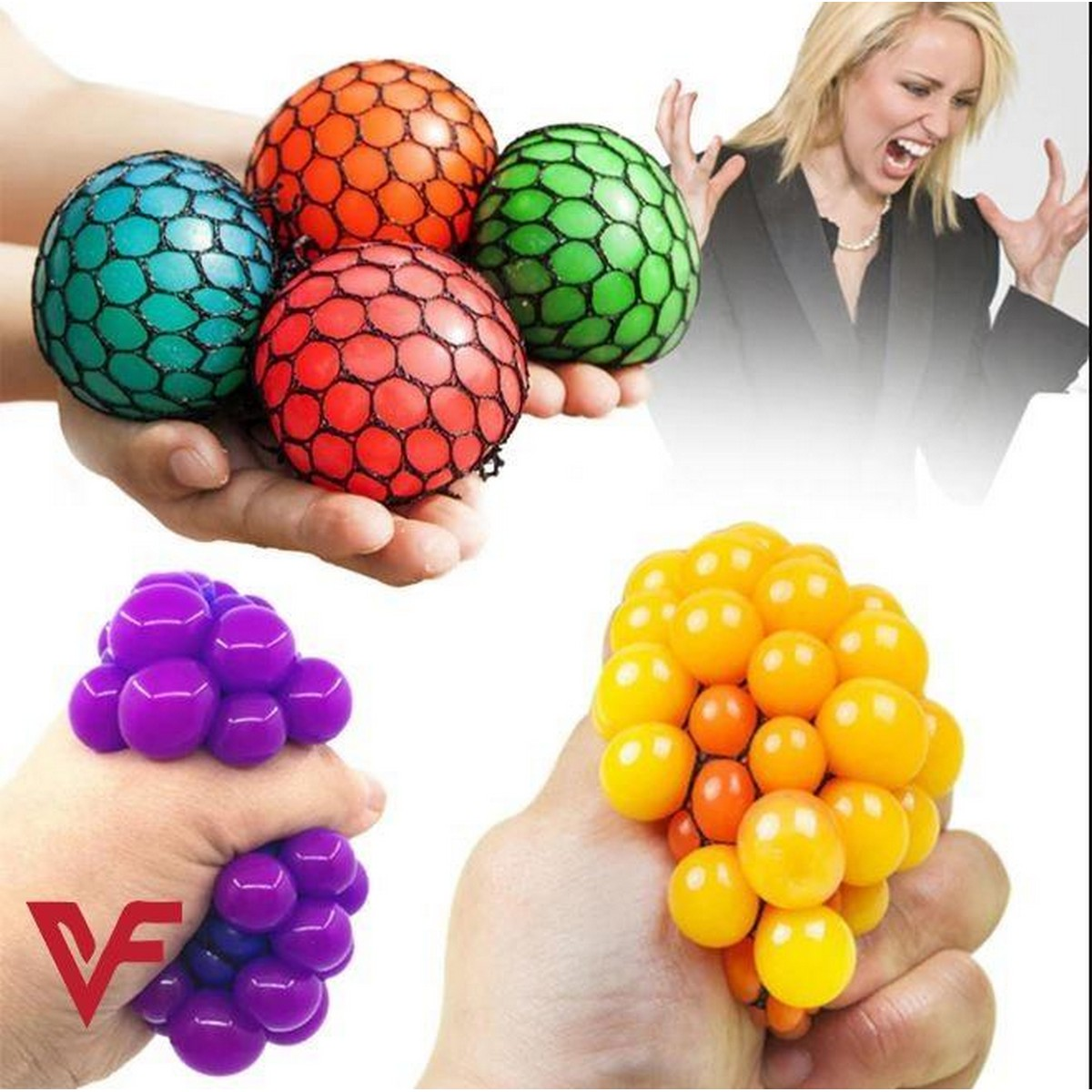 Pack of 2 Magic Colour Changeable Grape Mesh Squish Ball Stress Release Toy Squeezing Rubber Vent Grape Ball, Hand Wrist Toy