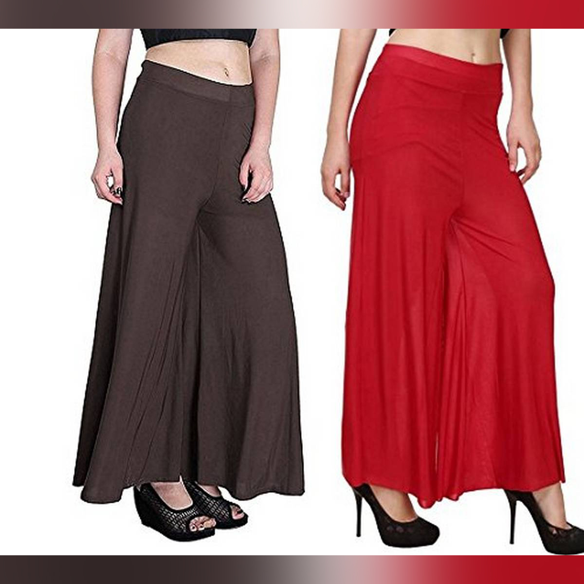 Pack Of 2 Viscose Long Palazzo Pants for Women (Brown-Red)