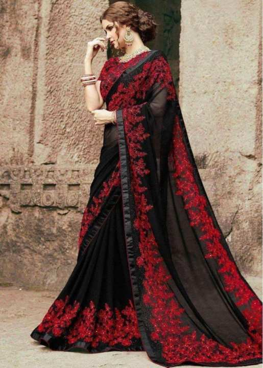 Indian Bridal chiffon embroidery saree black color