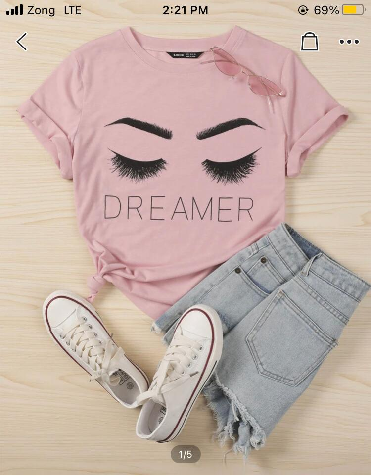 Pink printed t shirt for girls and women's