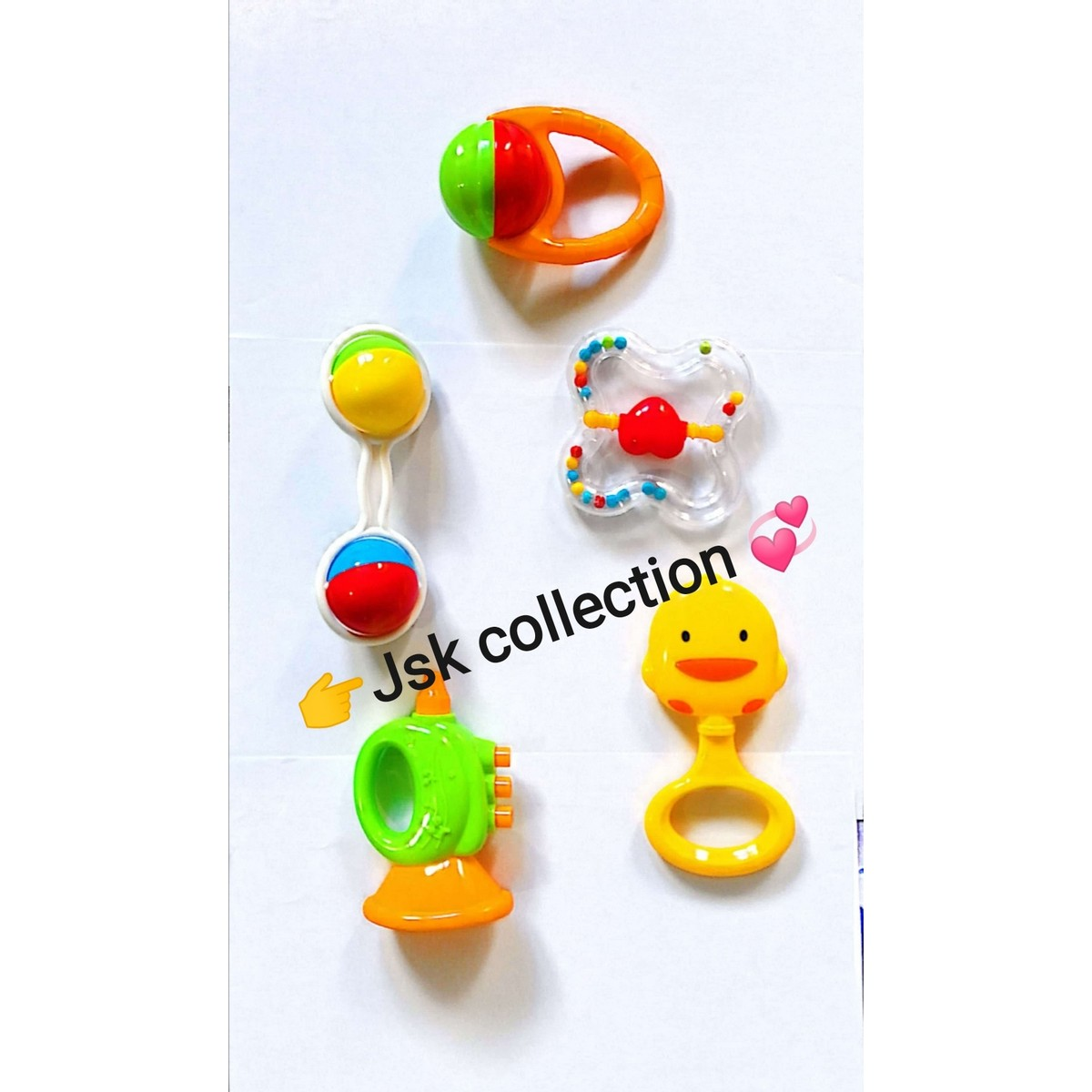 Quality Pack of 5 pcs Colorful Rattle Play Set For Kids, Multicolored Toy Rattles Infant Toddler Newborn Playing Toys, Beautiful Rattle play set For kids