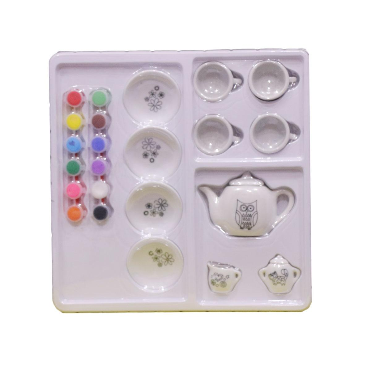 Diy Kitchen Ceramic Tea Set For Kids With Painting Colors Buy Online At Best Prices In Pakistan Daraz Pk