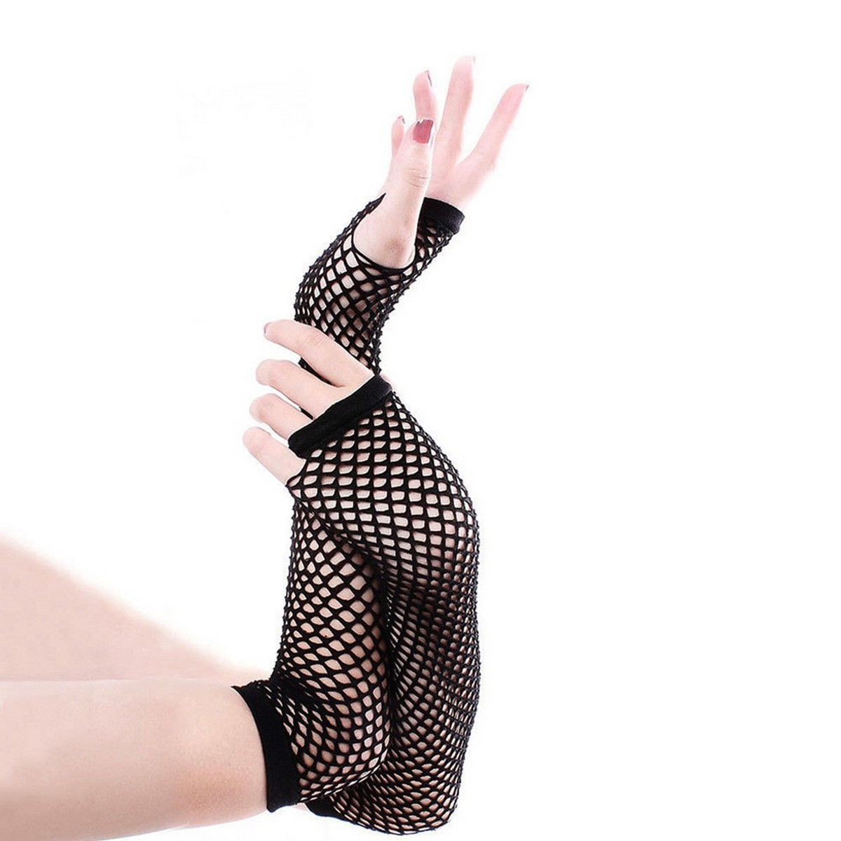 Fishnet Lace Hollow Elasticity Long Hand Gloves Fashionable Women Gloves