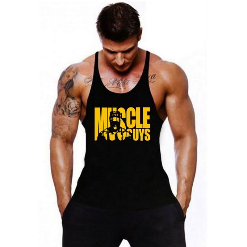 Muscle Guys  Black Gym Printed Sando tank for Men