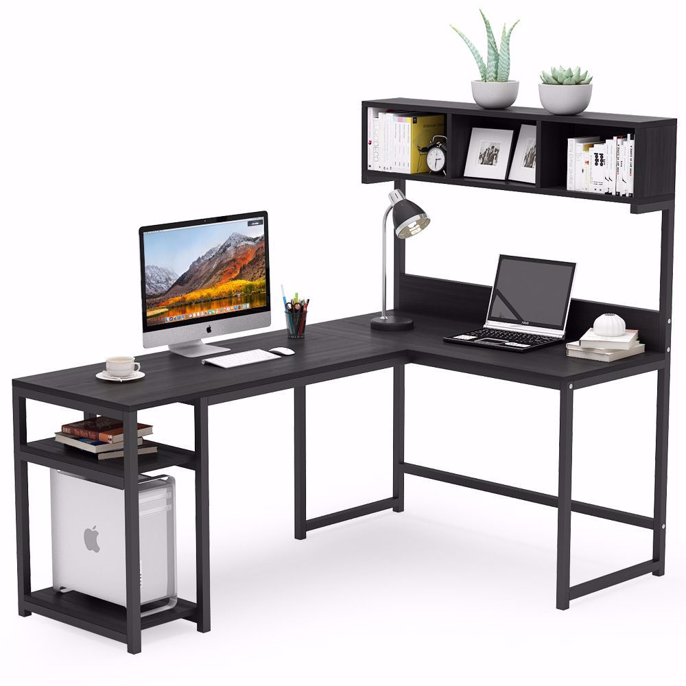 L Shaped Office Desk with Storage Shelves and Hutch