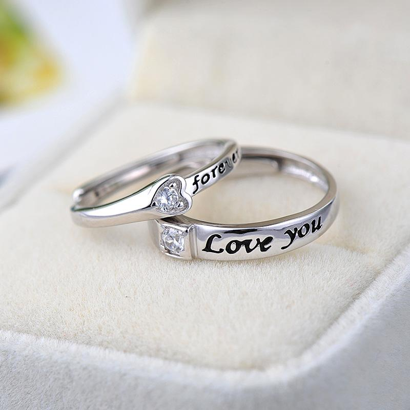 ae90e860cb Heart Design Couple Rings 925 Sterling Silver Rings Shiny CZ Forever Love  Letters Ring for Couples