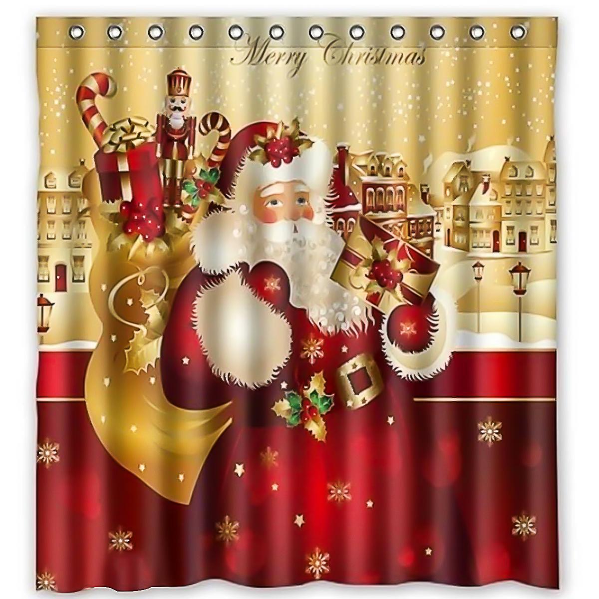 Red Santa Claus Christmas Decor Waterproof Bath Home Shower Curtain Hooks 71
