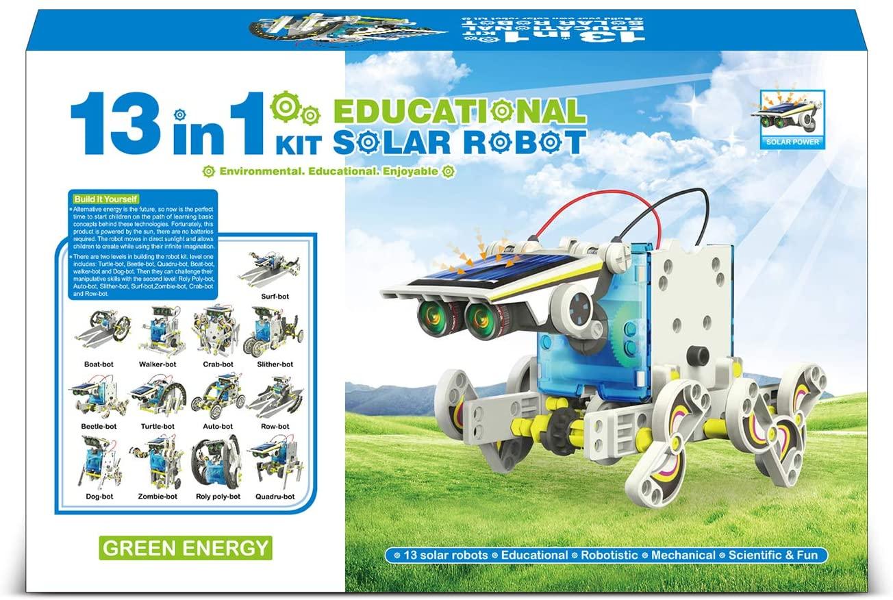 Solar Robots 13 in 1 Convertible Robot Kit Educational Toy DIY Robotics Kit Solar Powered Building Kit Easy Assembly for Kids Children Boys Girls