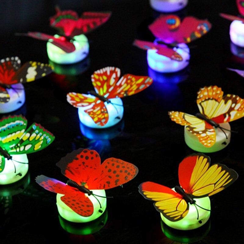 12pcs -Beautiful Glow In The Dark Led Butterfly Night Light Home Bedroom Decorative For Kids Room