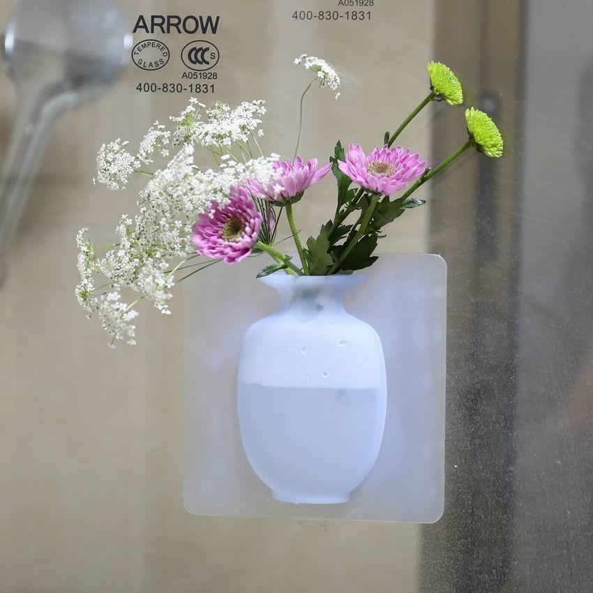 Removable Silicone Flower Vase,Fridge Vase,Hanging Wall-Mount Vase,Sticky Vase,Decorative Vase for Fridge Window,Glass,Party,Exhibition,Wedding,Festival,Home,Kitchen(White+Blue)