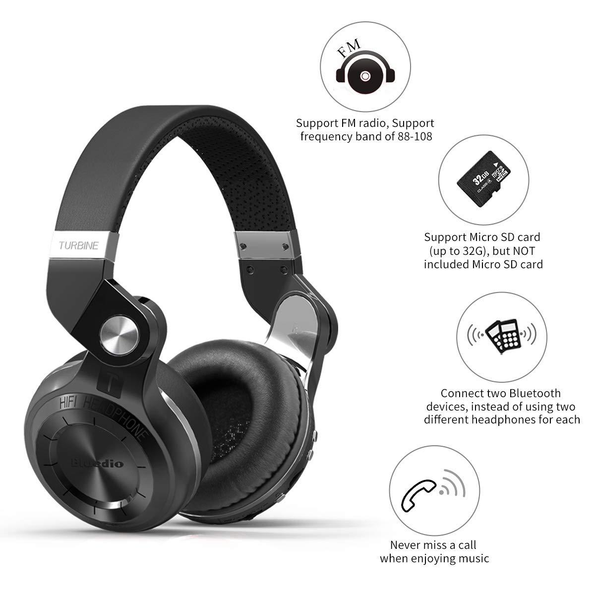 74134e2ece7 Bluedio T2 Plus Turbine Wireless Bluetooth Headphones with Mic/Micro SD Card  Slot/FM
