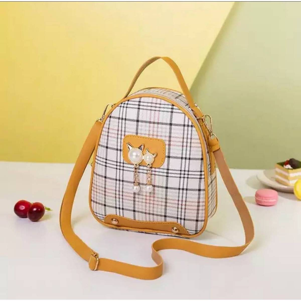 3 Style Use Check Pu Leather Material Bag for Stylish Girls (Backpack+Side Shoulder+Hand Carry)