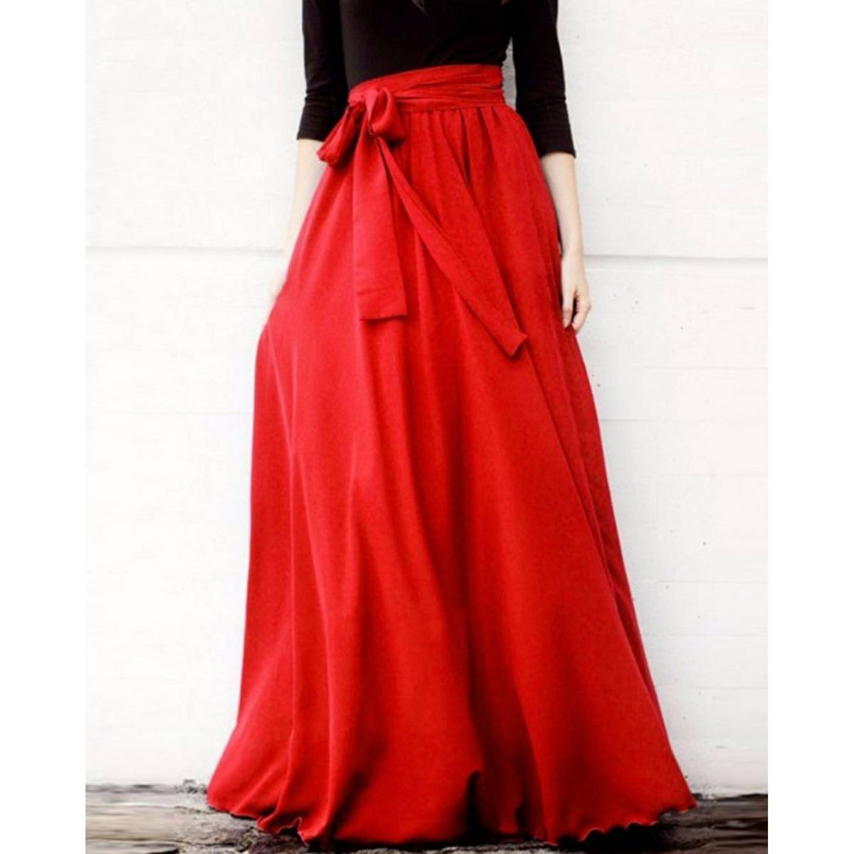 Pink Lady Satin Silk Box Pleated Ladies Long A Line Floor Length Maxi Skirts with cancan stitched inside For Women, Ladies, Girls (Red)