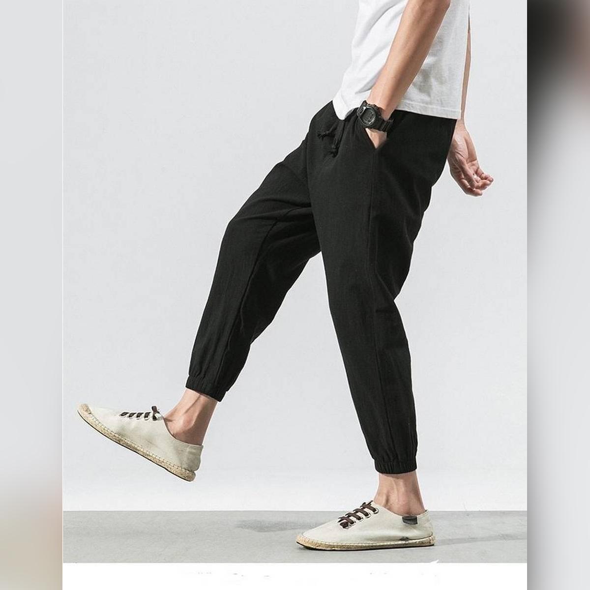 New Fashion Mens Casual Sport Pants Cotton Linen Baggy Bottoms Harem Trousers Slack