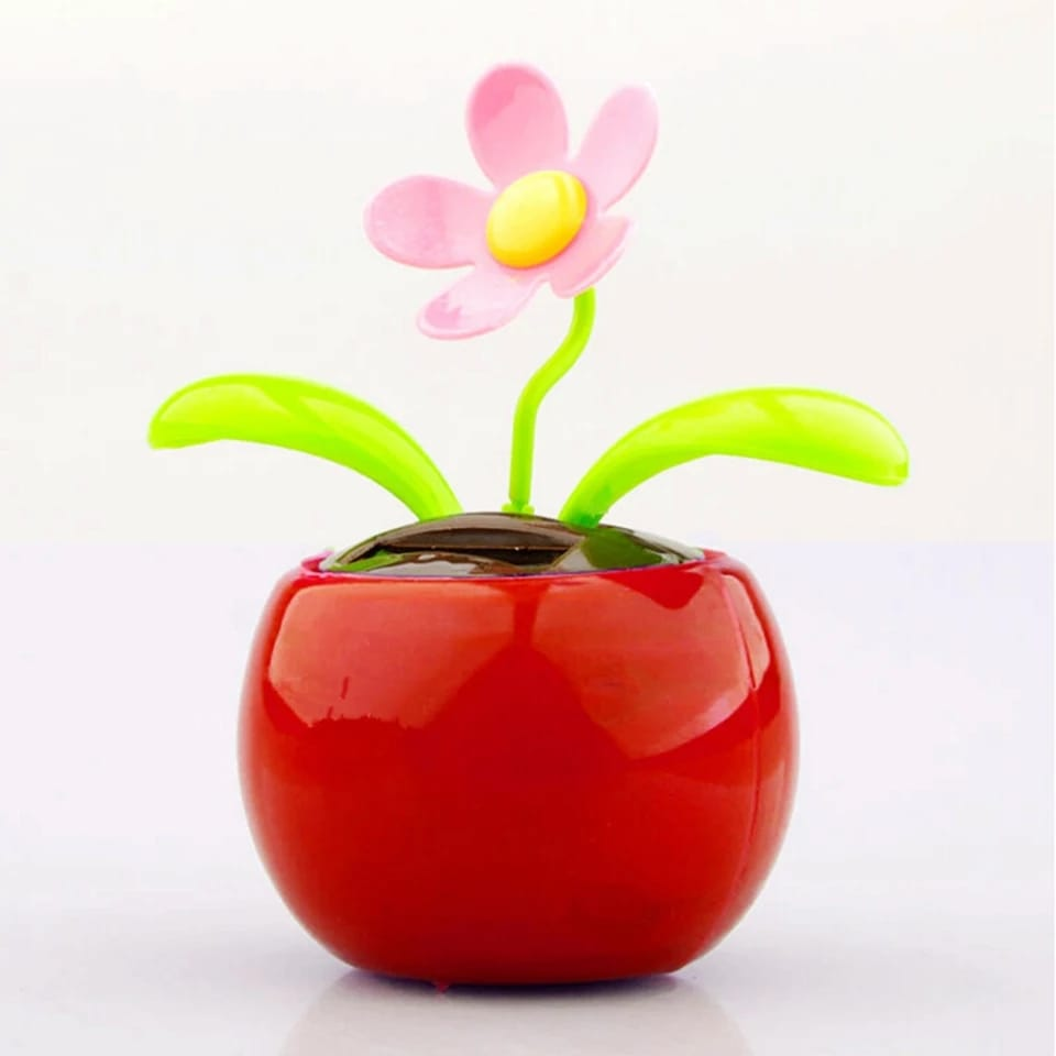 Car Decoration Solar Powered Dancing Flower Swinging Animated Dancer Toy - Red