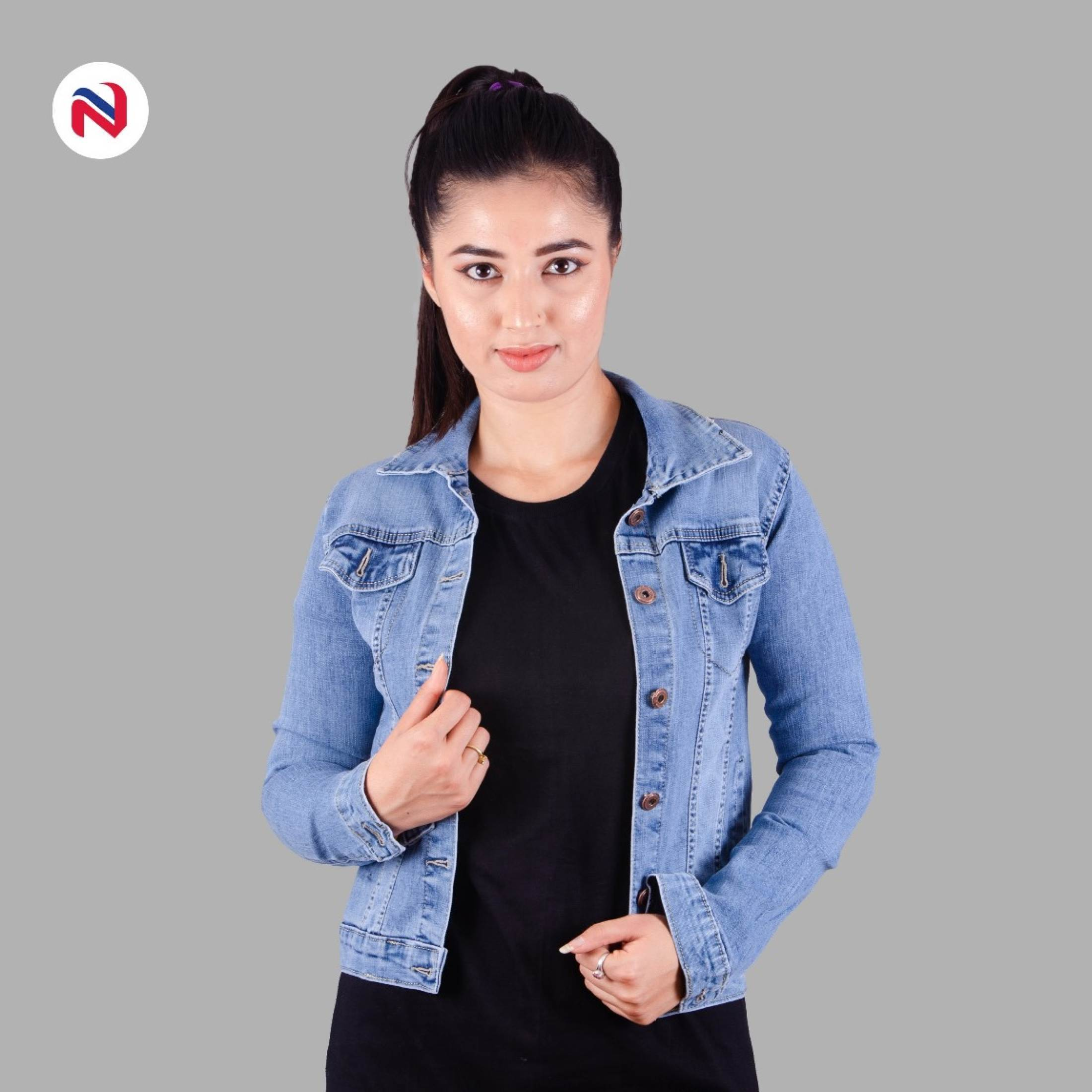 Winter Blue with sky shade Denim jeans Jacket for her