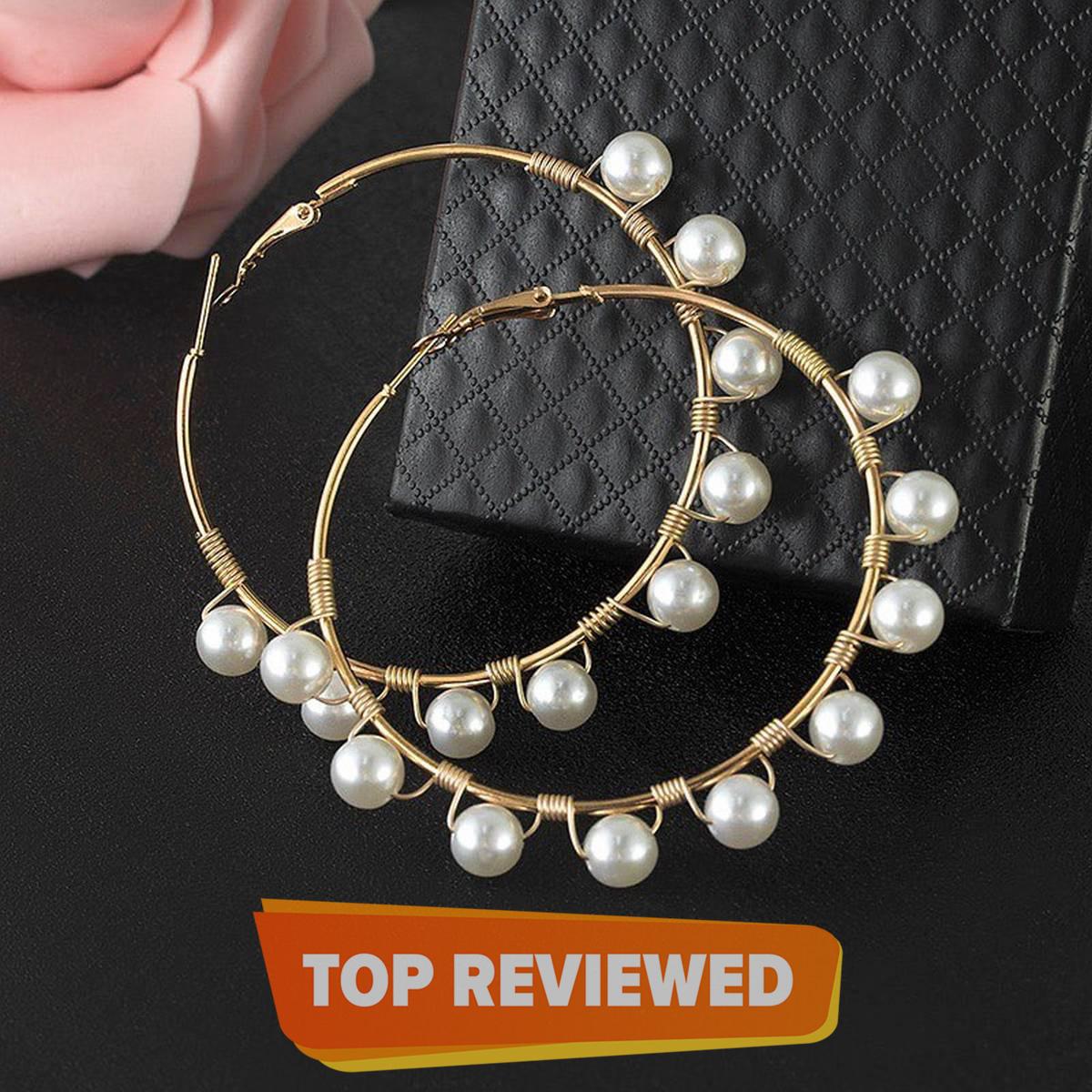 Fashion Jewelry Large Pearl Hoop Earrings