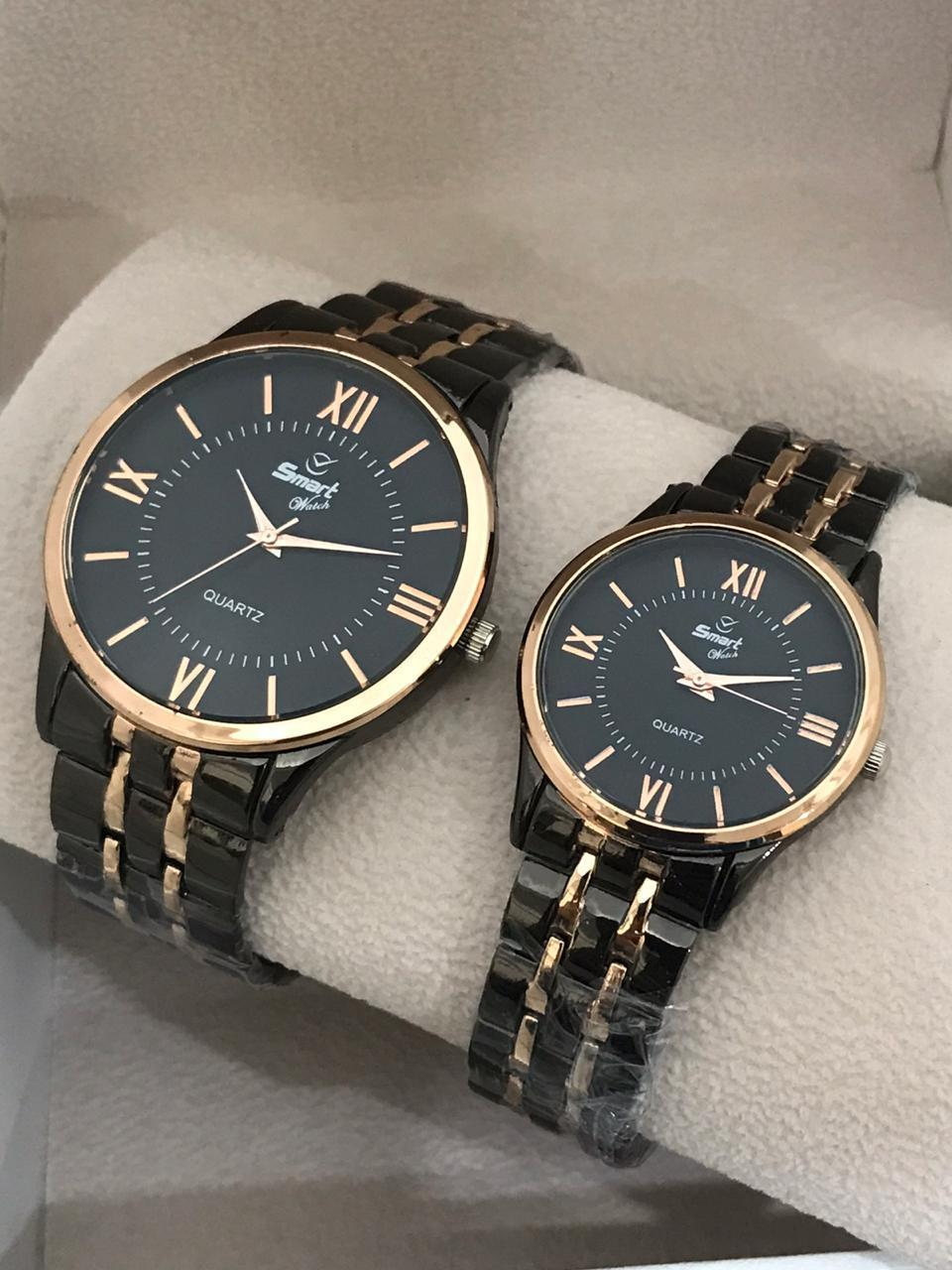 Pack Of 2 - Steel Analog Couple Watches With Box