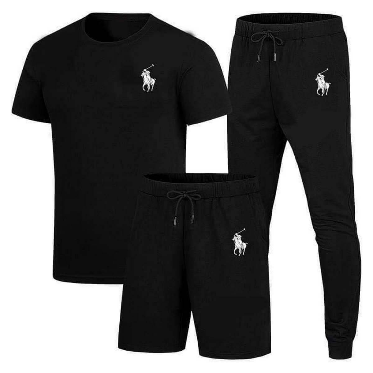 Pack Of 3 Summer Track suit & Night suit (T-shirt + Trouser + Short)