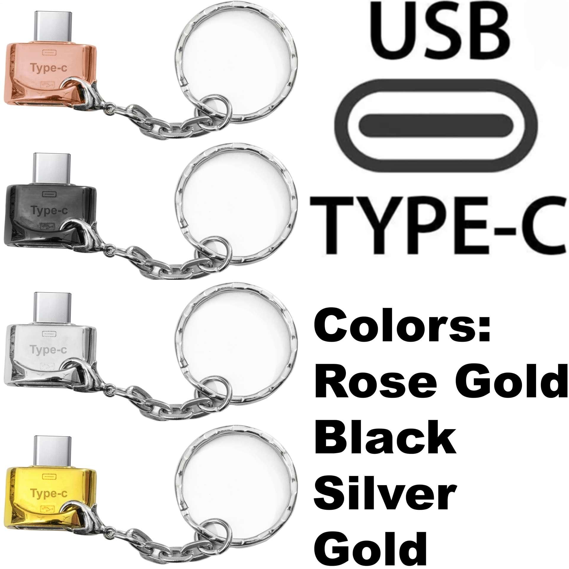 (Metal) OTG Type C Key Ring/Key Chain For Samsung / HTC / Infinix / Xiaomi / Oppo / Huawei