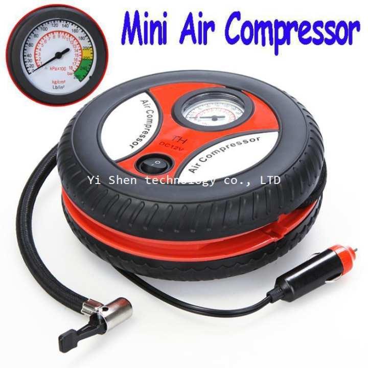 Car Tire Air Compressor Pump Inflator - 12 Volt - Black & Orange
