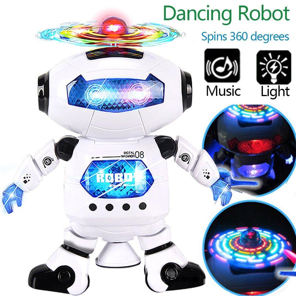 Electronic Dancing Robot Toy For Kids, Flashing Lights, 360° Body Spinning, Smart Space Robot Walking Dancing Robot Astronaut Music Light Toy