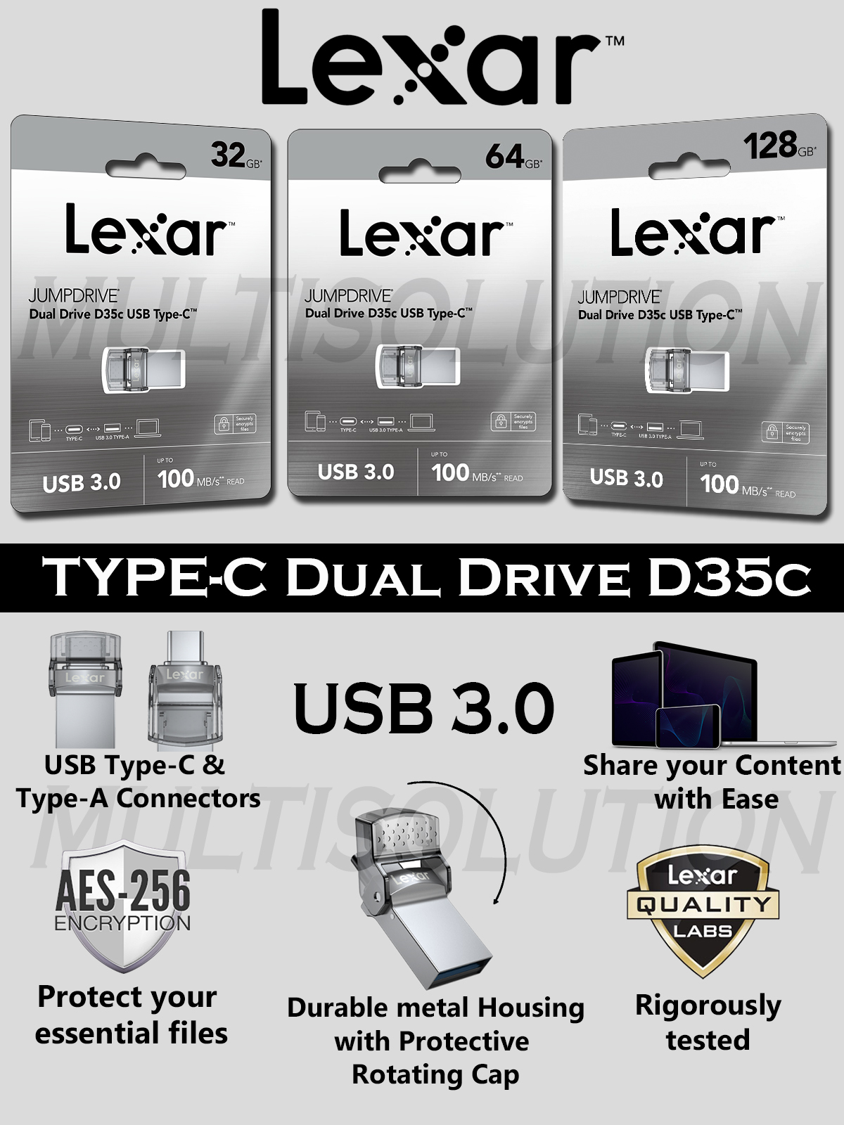 Type-C OTG Dual Drive Lexar Jump Drive D35c USB 3.0 Type C - 2 Years Warranty
