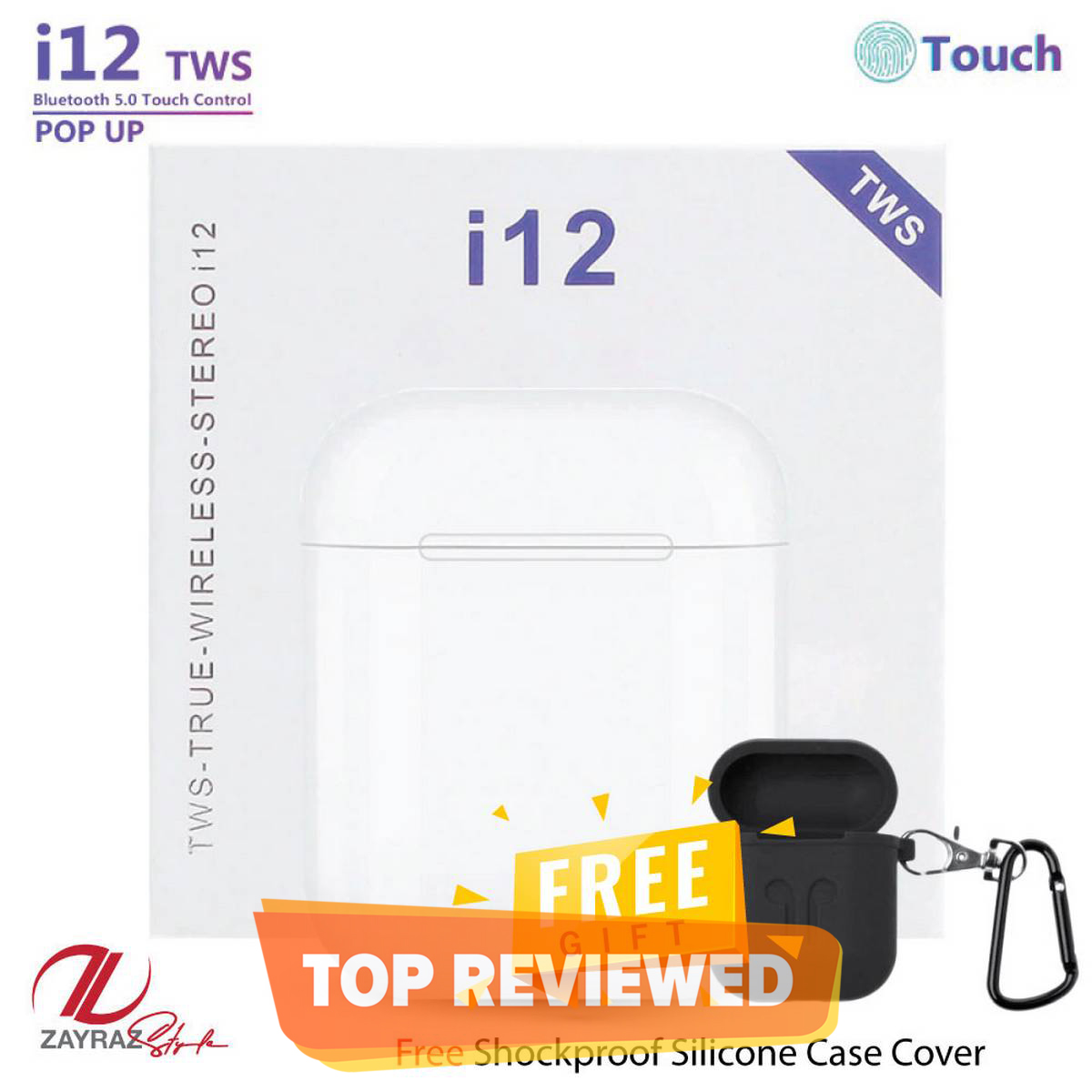 i12 TWS  Bluetooth Ear Pods Double V 5.0 by Zayraz with Double Touch Sensor High Quality Ear Pods – Sport Stereo Double V 5.0 Ear buds with Charging Dock + Free Cover Case as a Gift