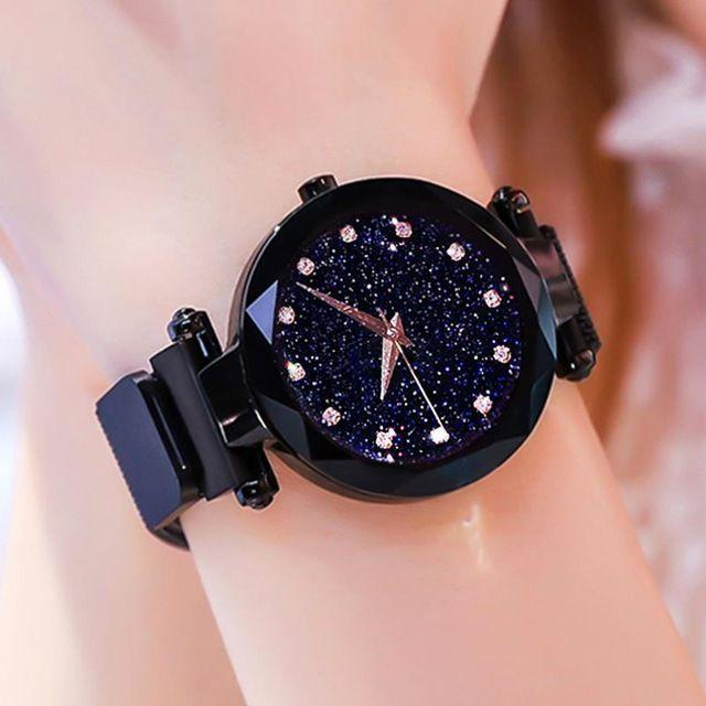 Eastern Best and Stylish Magnetic Clasp Black Wrist Watches For Women Girls K5626