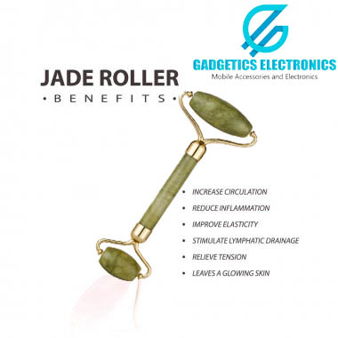 Jade Roller with Noiseless Natural Stone For Face - Double Head Stone For Face Massage, Eye Massager, Neck Roller, Skin Beauty Facial Care and Anti Aging Tool - Slimming Relaxation Beauty Health Skincare