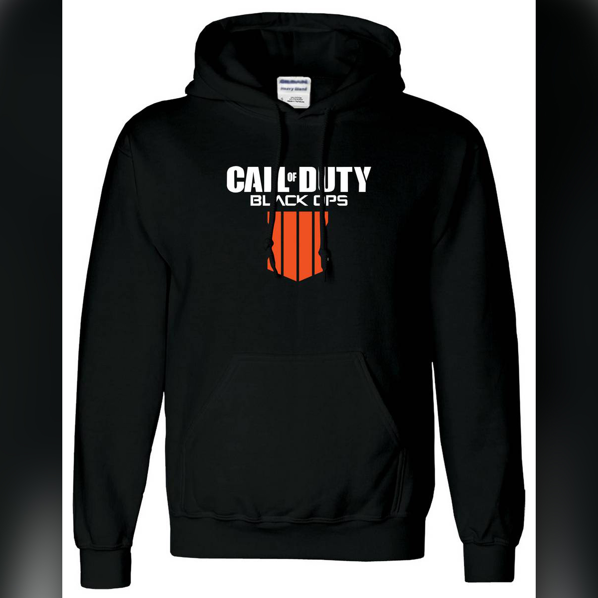 Mens Black Printed Poly Cotton Hoodie Call of Duty Gamers Hooded Adult Boys Pullover