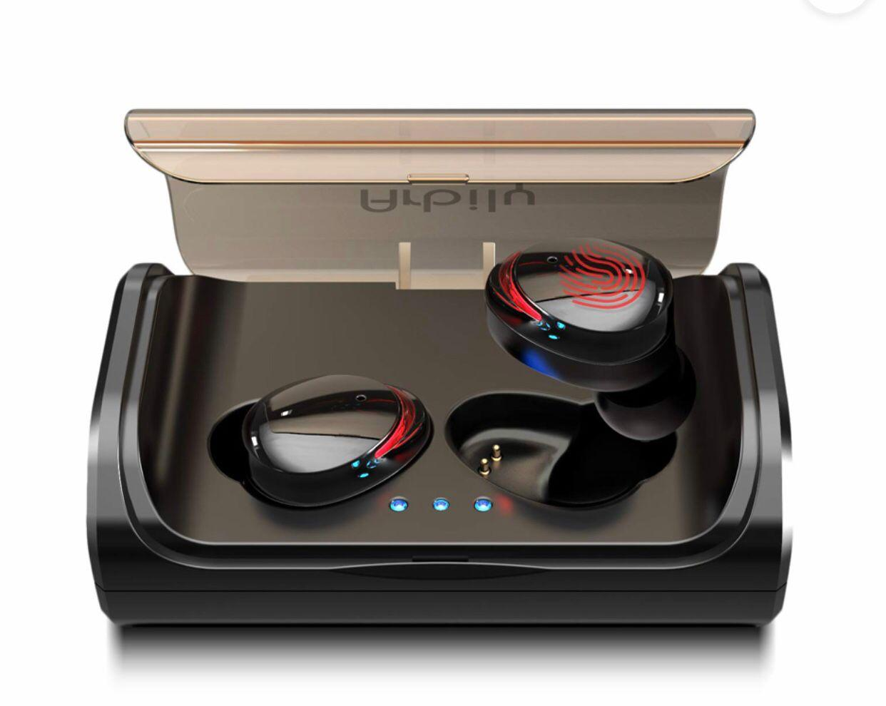TWS T8 Bluetooth 5.0 True Wireless Headphones In-Ear Earbuds Touch Control Stereo Earphone IPX6 Waterproof Sports Headset with Dual Microphone Charging Box