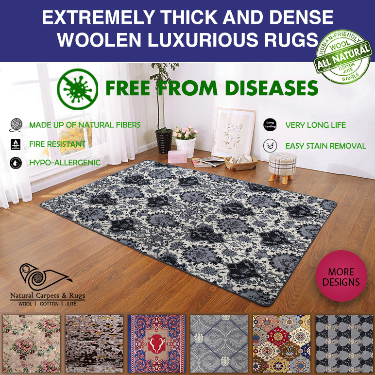 Natural Woolen Carpets and Rugs made of pure Wool for Living Room Rug, Dimension 3' x 5' / 4' x 6' / 6' x 9'