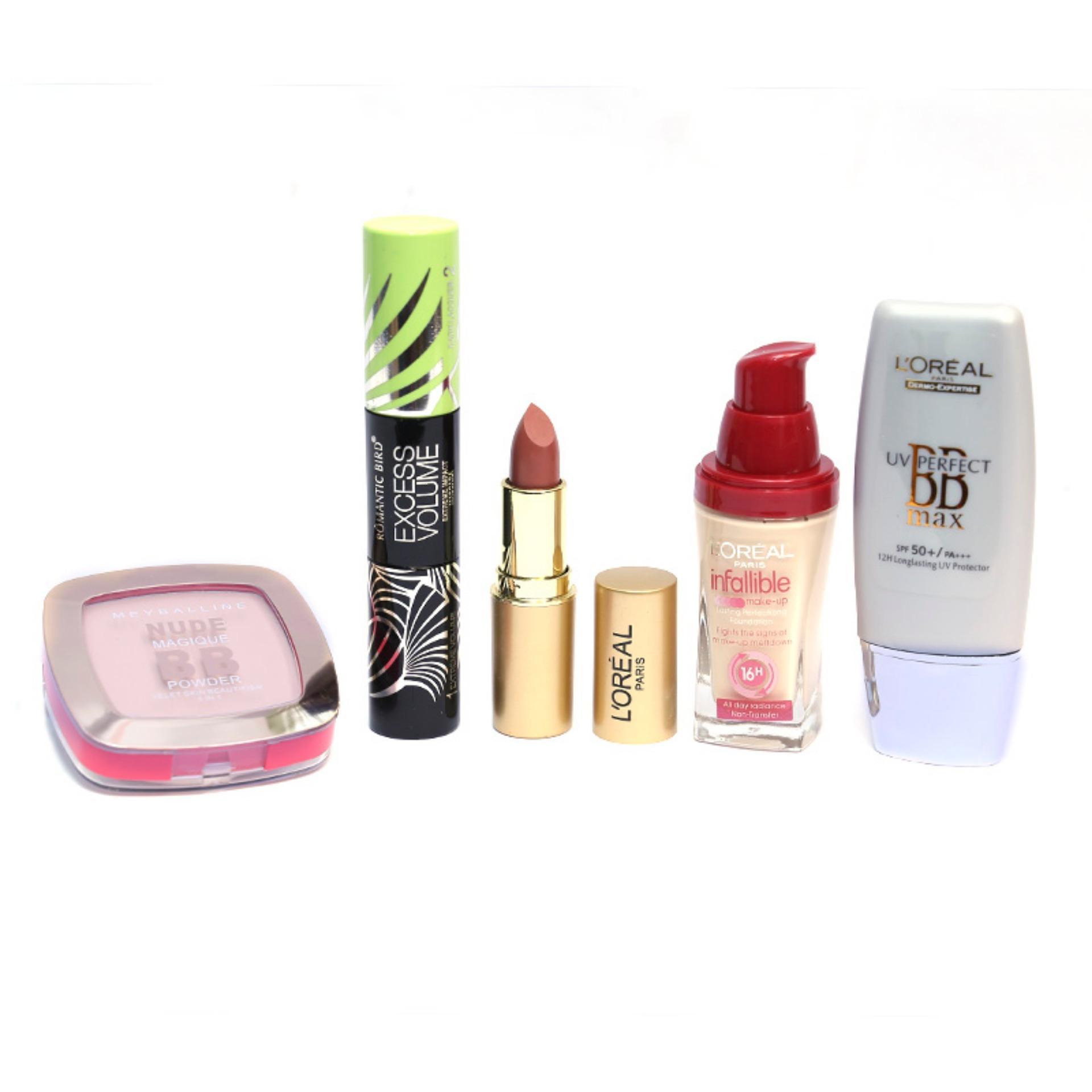 Exclusive Cosmetic Pack Of 5: 1 Loreal Paris BB Cream + 1 Loreal Paris Lasting