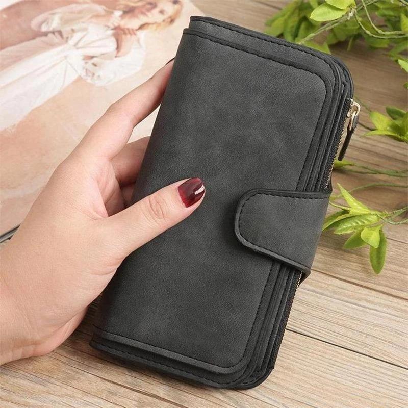 New Long Women Wallet Buckle Coin Purse Soft Card Holder Position Phone Bag Hand Clutch