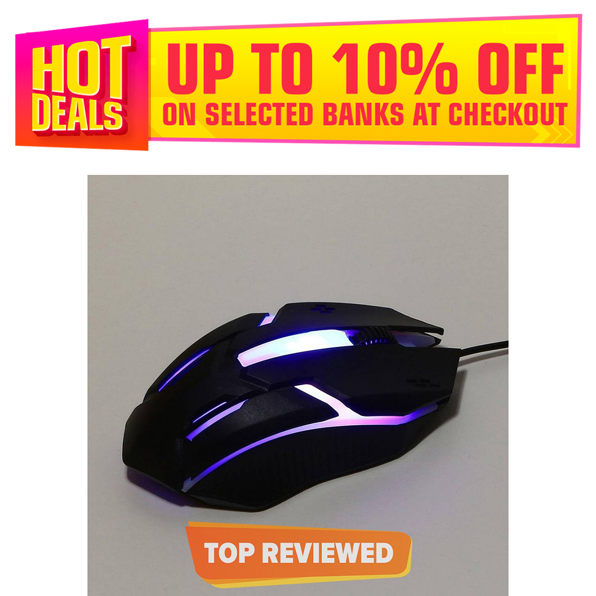 7 LED Gaming Mouse USB Wired Optical For PC Computer Laptop Pro RGB 7 LED Sensor Black 7 Colour LED Wired