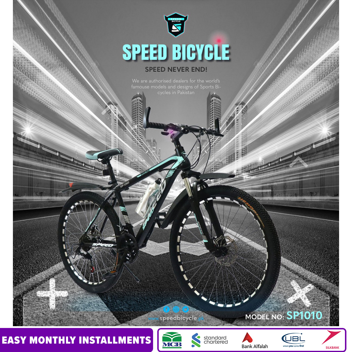 Speed Bicycle 26 inches Adjustable Seat Reflector RIM Hand Safety System and Gear Safety Mountain & Road Bike with Bottle Alloy - Multicolors