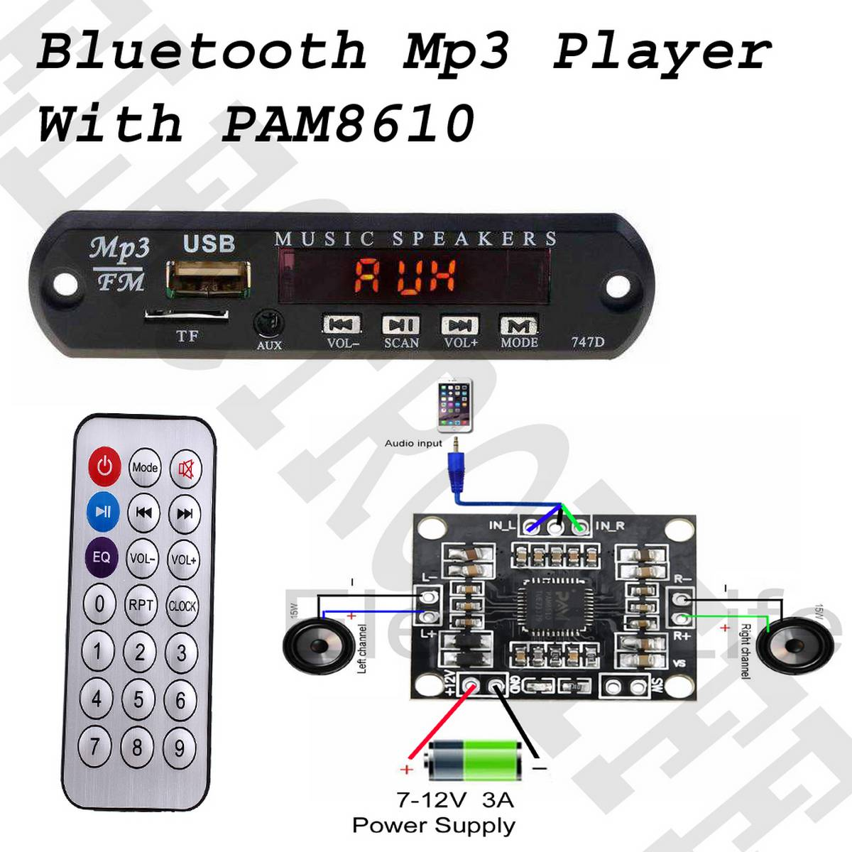 2 In 1 - Bluetooth MP3 Board with Remote Control Audio Module Support AUX TF USB FM Radio For Car Accessory - PAM8610 2x 15W Digital Stereo Amplifier Board