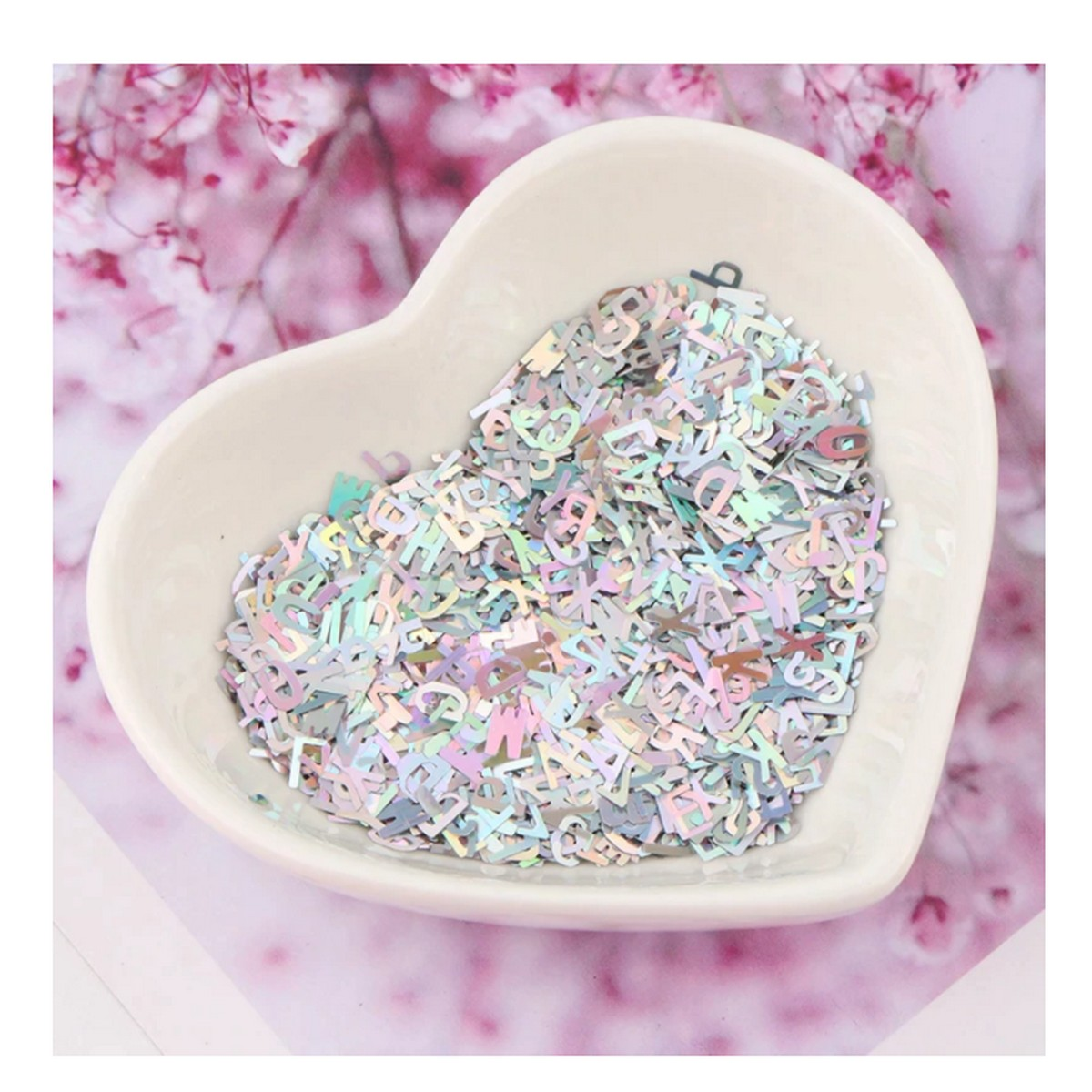 2 grm Holo Sequins Glitter Nail Art Mixed Size Letter Design Shape Flakes Tips Manicure Silver 3d Nail Accessories